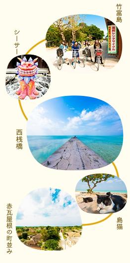 竹富島のレンタサイクル 竹富島シーサー 西桟橋 赤瓦屋根の町並みなど